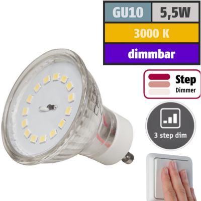 Flacher 5W LED Bad Einbaustrahler / 230V / IP54 / STEP DIMMBAR