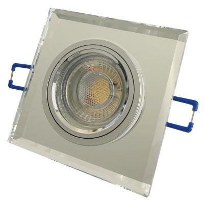 Eckiger Glas Einbaustrahler Laura / LED / 230Volt / 7Watt DIMMBAR / Klarglas
