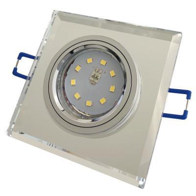 Eckiger SMD LED Glas Einbaustrahler Laura | 230V | 3W - 5W oder 7W | Starr | Klarglas