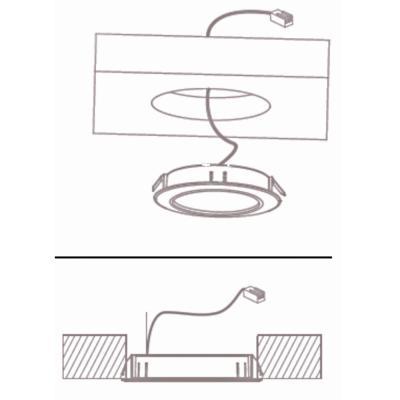 2er Set Kleine Möbel Einbauspots 12Volt / 10W / Halogen G4 / Loch = 50mm / Trafo 60W / Matt Chrom