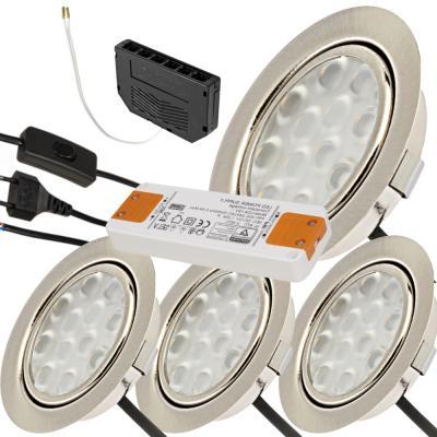 9er Set Möbeleinbaustrahler 12Volt + Halogenlampen 20Watt + Stromkabel und 105W Trafo + Verteileranschluß.