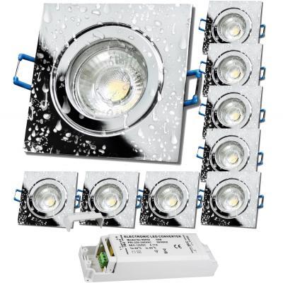 Einbaustrahler Jan / 230Volt / Aluminium / Schwenkbar / Fassung Gu10 / Chrom glänzend