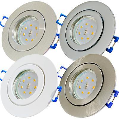 Silber / LED Badezimmer Einbauleuchte Marina / 3W, 5W oder 7Watt / Ø=83mm / IP44 / 230Volt