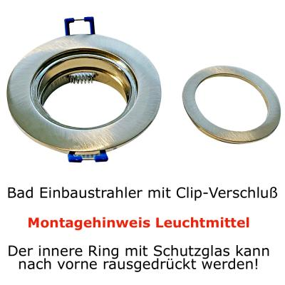 230Volt / Feuchtraum Einbauleuchte / SMD LED / 5W / Ø=84mm / IP44 / Rostfrei / Chrom Matt / Rund