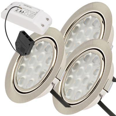 3er Set / Flache LED Einbauspots Lina / 12Volt / 3W / Kabelbaum / Stecker/ Verteilerleiste / LED Trafo / Einbautiefe nur 15mm
