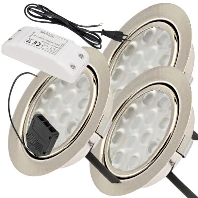 3er Set / Flache LED Einbauspots Lina / 12Volt / 3W/  LED Trafo / 230V Netzkabel für schaltbare Steckdosen