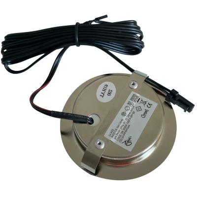 Flache LED Möbel Einbauleuchte Lina 12V / 3W / Stromkabel 1.8m / Geringe Einbautiefe von nur 15mm