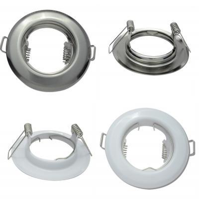 Runde Einbaufassung Weiss / Silber / Starr / Ø=80mm / 12V / OHNE Leuchtmittel