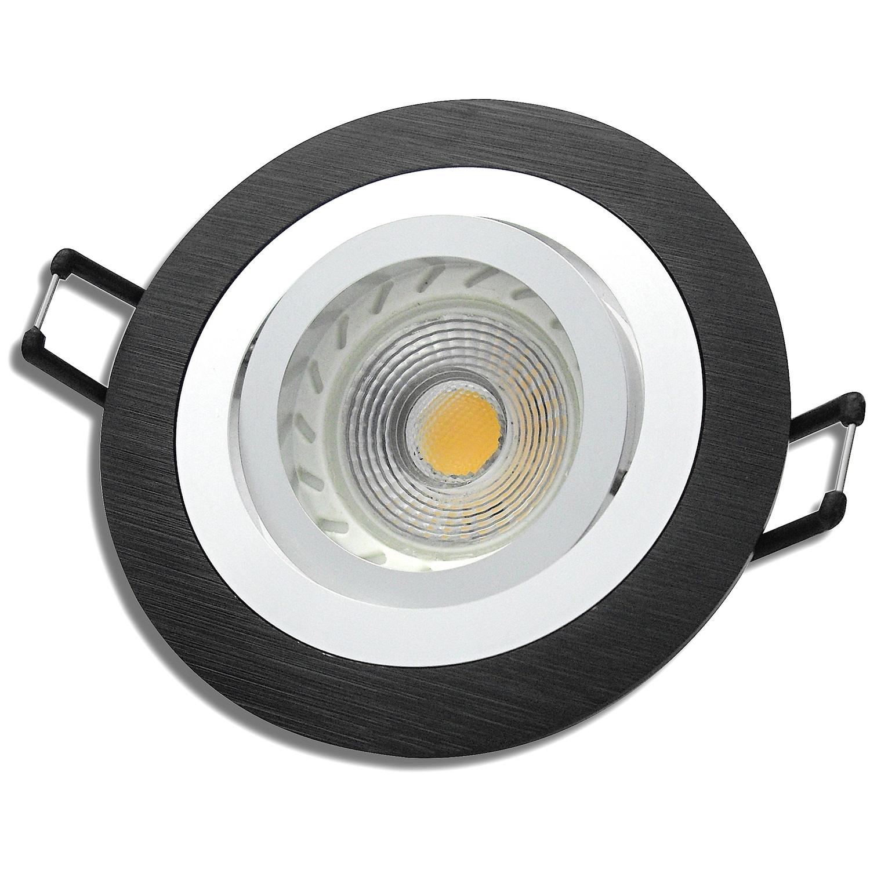 mcob led einbauleuchte sandy 230v 7w 70w dimmbar schwarz lichtfaktor24. Black Bedroom Furniture Sets. Home Design Ideas