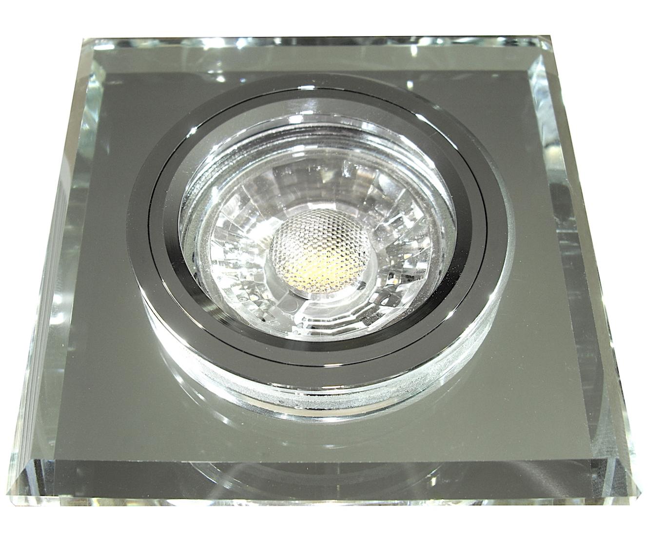 eckiger glas einbaustrahler laura led 230volt 3w 5w oder 7w starr klarglas. Black Bedroom Furniture Sets. Home Design Ideas