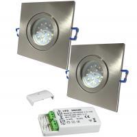 4er Set Deckenstrahler Timo mit 5W Hochleistungs LED Leuchmittel MR16 und LED Trafo. Lichtstärke wie 50W Halogen. 38° Leuchtwinkel.