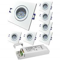 10er Set = MCOB LED Einbaustrahler Mia / 3W - 5W oder 7Watt / 230Volt / Alu gebürstet