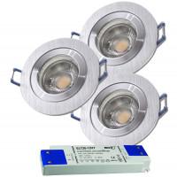 3er Set = 12Volt Bad Einbaustrahler Marina | IP44 | 5W | MCOB LED | inklusive LED Trafo 20Watt