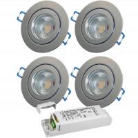 4er Set = 12Volt Bad Einbaustrahler Marina | IP44 | 5W | MCOB LED | inklusive LED Trafo 30Watt