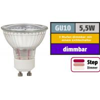 SMD LED Leuchtmittel 230Volt - 5Watt - Dimmbar in 3 Stufen 100% - 50% und 20% per Lichtschalter.
