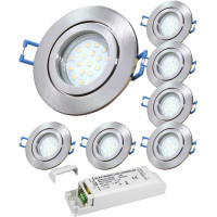 2er Set = Einbaustrahler Timo / MCOB LED Leuchtmittel 230Volt / 3W - 5W oder 7Watt / Schwenkbar
