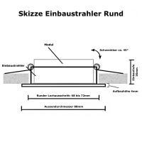 4er Set - LED Einbaustrahler Tom / 230V / 3W - 5W oder 7Watt / Silber