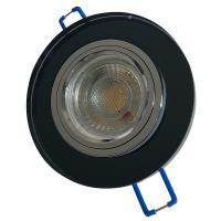 Runder Glas Einbaustrahler Laura | LED | 230Volt | 7Watt DIMMBAR | Starr | Schwarz