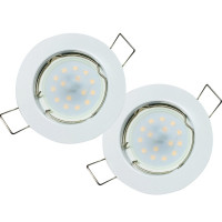 Flache LED Einbauleuchten | Weiss | 5W | 230V | Loch=55-60mm | ET=28mm | Milchglas