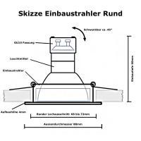Einbaustrahler Tomas / LED Leuchtmittel 230Volt / 3W - 5W oder 7Watt / 45° Schwenkbar / Stahl