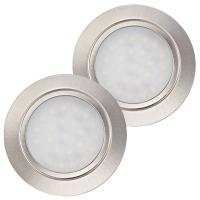 2 Stück Flache LED Möbel-Einbaustrahler Mila  12V - 2,4W - LED Trafo - 230V Zuleitung