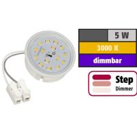LED Einbaustrahler Tom   Flach   230V   5W   ET-28mm   Weiss   STEP DIMMBAR