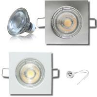 MCOB LED Einbaustrahler Tom / 230V / 5Watt / Eckig / Silber / Weiss