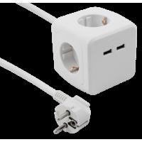 Steckdosen-Würfel mit 4 x Schutzkontakt Steckdose und 2 x USB