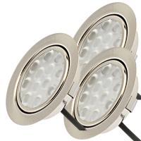 3 Stück LED Möbel Einbauleuchten 12V | 3W | Einbautiefe 12mm | Loch = 55 - 60 mm