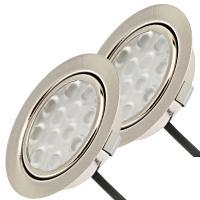 2 Stück LED Möbel Einbauleuchten 12V | 3W | Einbautiefe 12mm | Loch = 55 - 60 mm