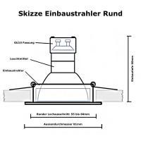 6er Set / LED Einbaustrahler für Feuchträume / 12V / 3W / Rund / Ø=84mm / IP44 / Rostfrei / Mit Trafo 20W