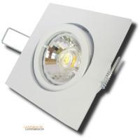 Silber / DIMMBAR / LED Bad Einbaustrahler Marin 230Volt / 90 x 90mm / IP44 / 7Watt