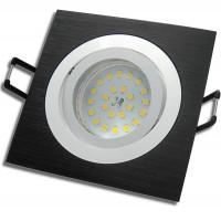 SMD LED Einbaustrahler 230Volt / 5Watt / Schwarz / Schwenkbar / Quadratisch / Drehbar /