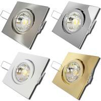 SMD LED Einbaustrahler / 230Volt / 3W - 5W oder 7Watt / Schwarz / Drehbar / Eckig / EEK A+