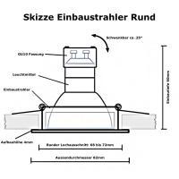 Großer LED Einbaustrahler Timo / 230Volt / 7Watt / 100% DIMMBAR / D=185 mm / Ø = 70 bis 170 mm