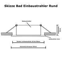 Runder Bad Einbaustrahler Marina /12Volt oder 230Volt / IP44 / Rund / Ohne Leuchtmittel