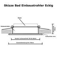 Sets = Quadratische LED Bad Einbaustrahler Marin 230V und Einbauspot Mia 230Volt / 5W / IP44 / BiColor