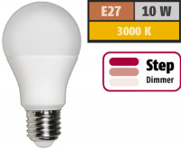 LED Glühlampe E27,10W, 810 Lumen, 3000K, Warmweiß, Step dimmbar 100% -> 50% -> 10%