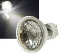 7er Sets - 230Volt LED Einbaustrahler Lara inklusive 5W=50W COB Power LED Leuchtmittel mit Reflektor. Silber
