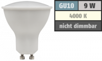 SMD LED Leuchtmittel 230Volt - 9Watt - NEUTRALWEISS 4000Kelvin - 120° Abstrahlwinkel - Sockel Gu10