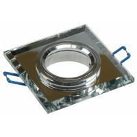 Glas Decken Einbaustrahler Crystal Q90 / 230V / Starr / 90x90mm / für 50mm Leuchtmittel / Silber / Klar