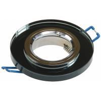 Glas Decken Einbauleuchte Crystal R90 / 230V / Starr / Ø=90mm / für 50mm Leuchtmittel / Schwarz