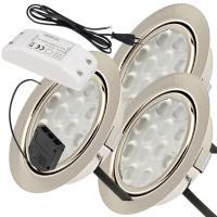 9er Set = Einbaustrahler Jan / MCOB LED Leuchtmittel 230Volt / 3W - 5W oder 7Watt / Schwenkbar