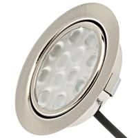 5er Set: 12Volt Power LED Einbaustrahler Jan + 3Watt Leuchtmittel + 15W LED Trafo + Fassung MR16. Leuchtwinkel 110°