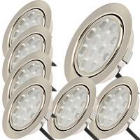 7er Set / Flache LED Einbauspots Lina / 12Volt / 3W / Kabelbaum / Stecker/ Verteilerleiste / LED Trafo / Einbautiefe nur 15mm