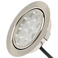 4er Set: 12Volt Power LED Einbaustrahler Jan + 3Watt Leuchtmittel + 15W LED Trafo + Fassung MR16. Leuchtwinkel 110°