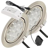 2er Set / Flache LED Einbauspots Lina / 12Volt / 3W / LED Trafo /  230V Netzkabel für schaltbare Steckdosen