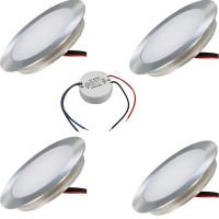 4 x SMD Bodeneinbauspots 12Volt + LED Rundtrafo. Für Laminat, Parkett, Fliesen usw. Begehbar - IP67. Abwaschbar.